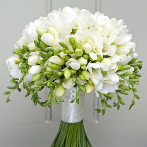 White freesia bridal wedding bouquet