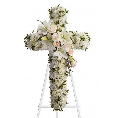 Funeral cross flower arrangements