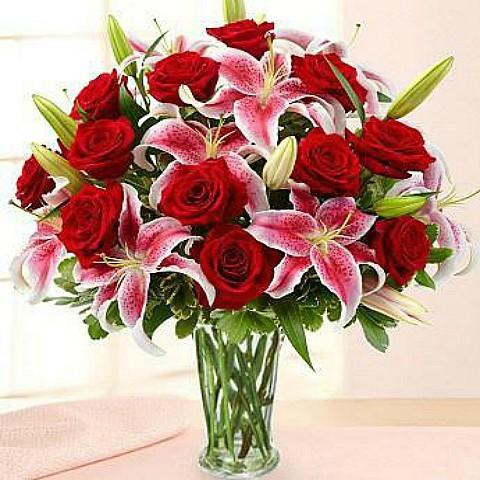 lovely lily and rose celebration bouquet