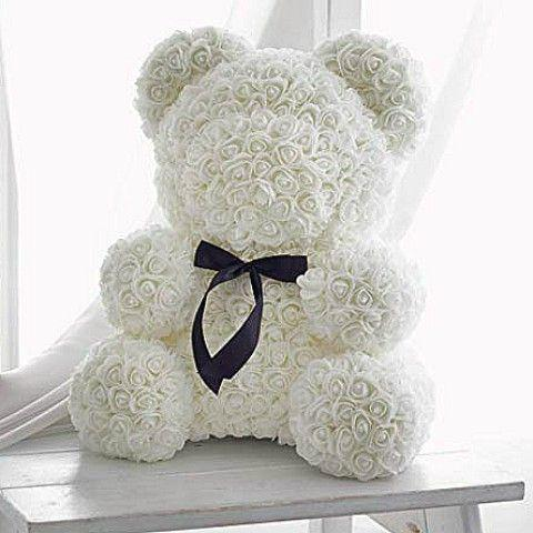 White Rose Teddy Bear Delivery