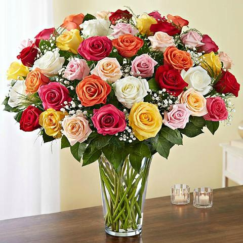 50 Colorful Roses Bouquet