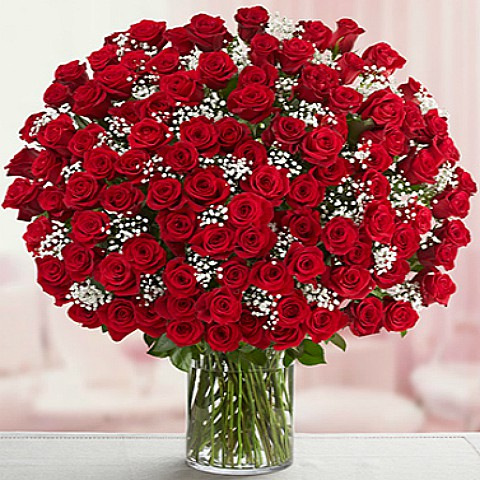 Romantic 100 Red Roses Bouquet