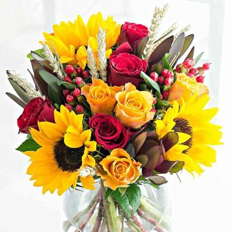 sunflower bouquet with roses